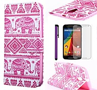 Pink Elephant Pattern PU Leather Case with Screen Protector and Stylus for Motorola G2 XT1063