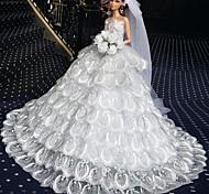 Barbie Doll Deluxe Floor-length Pure White Wedding Dress