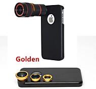 Teleobiettivo 8x / lente fisheye / grandangolare add-on kit obiettivo macro con il caso posteriore di iphone 5 quater (colori assortiti)