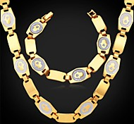 U7®Hamsa Hand Palms Chain Necklace Bracelet 18K Real Gold Plated Choker Necklace Fashion Jewelry Set