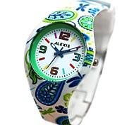 mulheres rodada pulseira de silicone verde movimento de quartzo japonês relógio fw922d