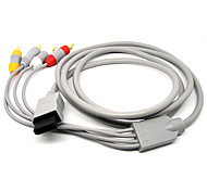 1.8M 5.904FT Wii 30Pin Male to S-Video + 3RCA Male Signal Video Audio TV Cable for Wii - Gray