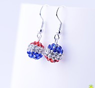 HIWU® Tricolor Full-Crystal Drop Earrings 10 MM (1 Pair)