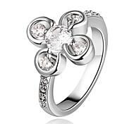 blancs femmes de mode anneaux de platine plaqué mode de zircon (blanc) (1pcs)