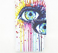 Eyes Pattern PU Leather Full Body Case with Card Slot and Stand for iPhone 4/4S