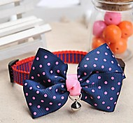 Adjustable Meshbelt Spot Pattern Dark Blue Bowknot and Bell Decorated Collar for Pet Dogs
