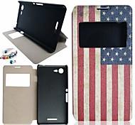el patrón de la bandera americana de cuero de la PU caso de cuerpo entero y de pie y al polvo plugfor sony xperia e3