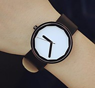 Unisex Round Dial Leather Band Quartz Watch (Assorted Colors)