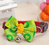 Dog Collar Adjustable/Retractable / With Bell Green Nylon