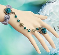 Eruner®Hot European Style Jewelry Sweet Blue Lace Bride Wrist Bracelet Chain Ring