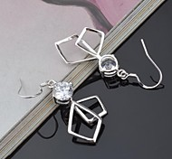 Stud Earrings Silver Titanium Simulated Diamond Silver Jewelry 2pcs