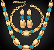 U7® Chain Necklace Bracelet Dangle Earrings 18K Real Gold Plated Turquoise Stone Bridal Jewelry Set