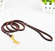 Dog Leash Adjustable/Retractable Brown Genuine Leather