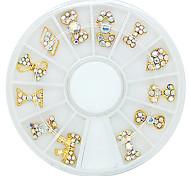 12 de estilo accesorios bowknot aleación incrustado incrustado a mano rhinestone material de arte de DIY