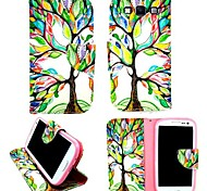 KARZEA™Life Tree PU Leather TPU Back Full Body Case Painting Card Holder Wallet Case for Samsung A3/A3000