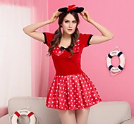 Mouse Girl Red Polka Dots Velvet Dress Women's Costume