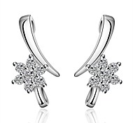Women's S925 Silver Plated Dolphins Zircon Flower Shape Earrings(Color Preserving More Than A Year)