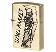6135 Skull Pattern Zinc Alloy Fuel Lighter (Antique Brass)