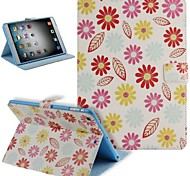 Painted Flowers Pattern PU Leather Flip Protective Case Cover with Stand for iPad mini
