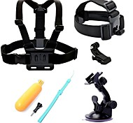 5 in 1 Accessory Kits Chest Strap + Suction Cup + Head Strap + Floating Handle Grip for Gopro Hero4 hero3+ hero3
