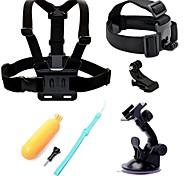 5 in 1 kit di accessori fascia toracica + ventosa + cinghia testa + galleggianti impugnatura per GoPro hero4 hero3 + hero3