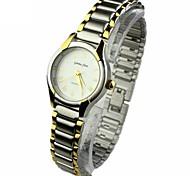 mini-cadran rond alliage bande quartz analogique montre-bracelet des femmes