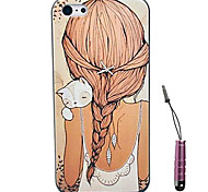 Cats And Girl Back Pattern Hard Case & Touch Pen for iPhone 4/4S