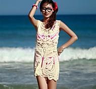Women's Fashion Beige Hollow Crochet Swimwear Swimsuit Bikini Beach Cover-up Strapless Vest Dress