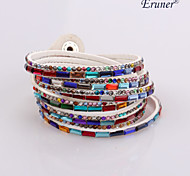 Eruner®Multilayer Multicolor Rhinestone Leather Bracelet(White)