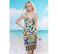 Women's Fashion Sexy Multi Print Backless Deep-v Swimwear Swimsuit Beach dress Bikini Cover-up