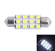 GC® 39mm 3W 150LM 6000K 12x3528 SMD White LED for Car Reading / License Plate / Door Lamp (DC 12V)