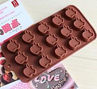 15 hoyos moldes de chocolate pastel en forma de manzana de la jalea de hielo, silicona 15 × 14,5 × 1,5 cm (6,0 × 5,8 × 0,6 pulgadas)