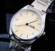 orologio quadrante rotondo della fascia d'acciaio impermeabile moda quarzo donna (colori assortiti)