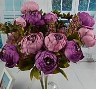 """roxo pêssego peônia artificiais buquê 11.8 """"para decoração de casa"""