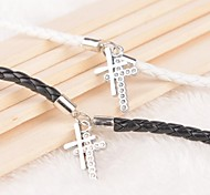 Z&X® Cross Rhinestone Lock Key Black And White PU Leather Couple Bracelets  (1 pair)
