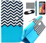 COCO FUN® Black White Wave Pattern PU Leather Case with Film and USB Cable and Stylus for Motorala Moto G2 XT1063