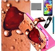 caso padrão geléia coração couro pu Coco fun® com filme e cabo USB e caneta para i9600 samsung galaxy s5