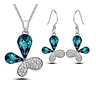 Flying Butterfly Advanced Crystal Pendant Necklaces & Earrings Jewelry Set (Light Blue、Navy、Red、Purple Three Color)