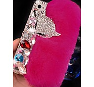 fox cony modello capelli testa rhinestone posteriore Case for iPhone 4 / 4s (colori assortiti)