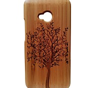 Kyuet Bamboo Case Artist Made Natural Bamboo Laser Engraving Trees Cover Skin Cell Phone Case for for Htc One M7