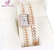 GEDI® Luxury Brand Women Watches Fashion Rose Gold Rhinestone Pearl Band Quartz Bracelet Watches Women