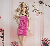 Barbie Doll Rose Red Paillette Dancing Partyg Dress