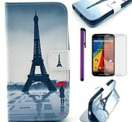 Eiffel Tower and Girl Pattern PU Leather Case with Screen Protector and Stylus for Motorola Moto G2