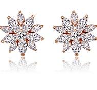 Fashion Zircon Flower Stud Earrings