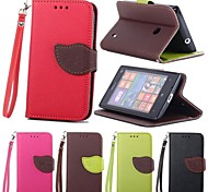 Leaves PU Leather Full Body Case with Card Slot, Stand and Strap for Nokia Lumia 520 (Assorted Colors)