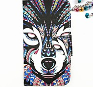 Wolf Pattern PU Full Body Case with Card Slot And Stand And Dustproof Plug for Motorola G2