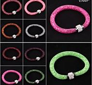Eruner® Stardust Rhinestone Crystal Beads Net Mesh Magnetic Snap Bracelet Bangle Hot