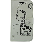Cartoon Giraffe PU Leather Full Body Wallet Protective Case with Stand for Samsung Galaxy S Advance I9070