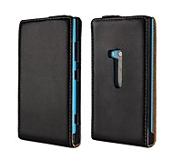 Flip-Open Solid Color Pattern Genuine Leather Full Body Case for Nokia Lumia 920