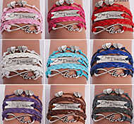 Eruner®Leather Bracelets Multilayer Alloy Heart and Infinite Charms Handmade Bracel